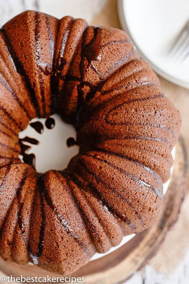 overhead view of a chocolate bundt cake