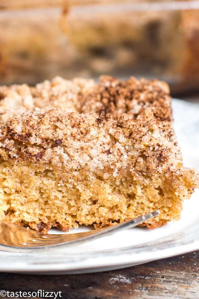 A close up of a piece of cake on a plate, with Buttermilk and Coffee cake