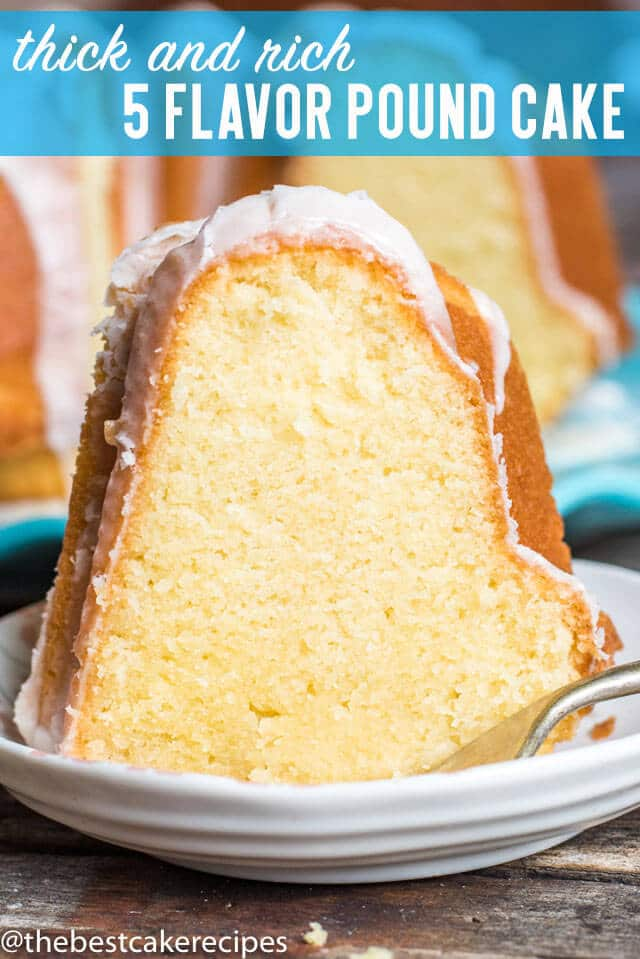 You've never had a pound cake like this! Unique flavors blend together in a delicious way with this Five Flavor Pound Cake. Drizzle a powdered sugar glaze on top for a pretty look.