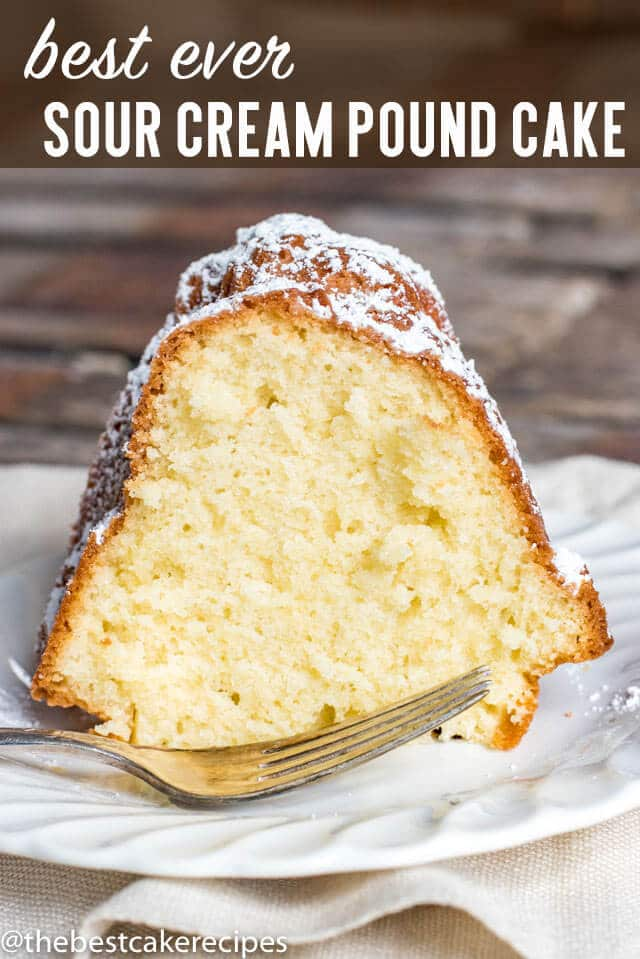 Sour Cream Pound Cake is a traditional bundt cake that is easy to make. It's simple flavor makes the cake a great base to fruit toppings and ice cream!