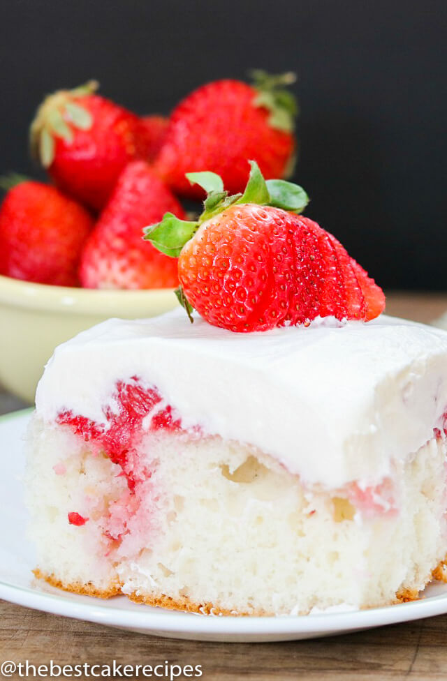 A piece of cake on a plate, with Strawberries