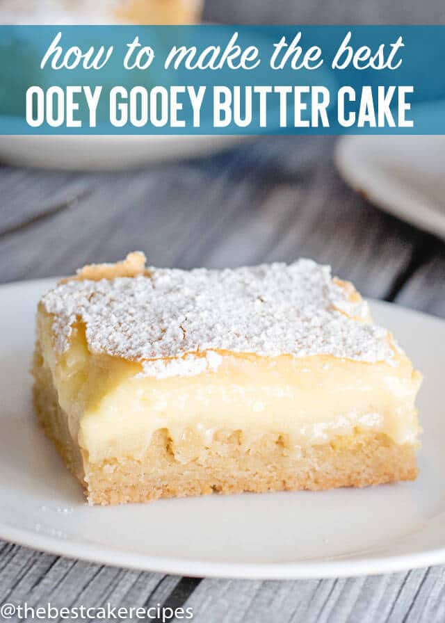 Ooey Gooey Butter Cake From Scratch is a simple classic cake with a shortbread like crust and creamy, pudding like filling. No frosting needed...just a dusting of powdered sugar will do!