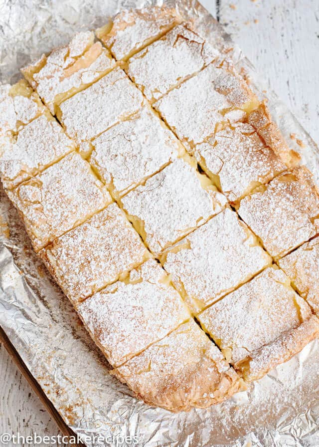 gooey butter cake bars cut in slices