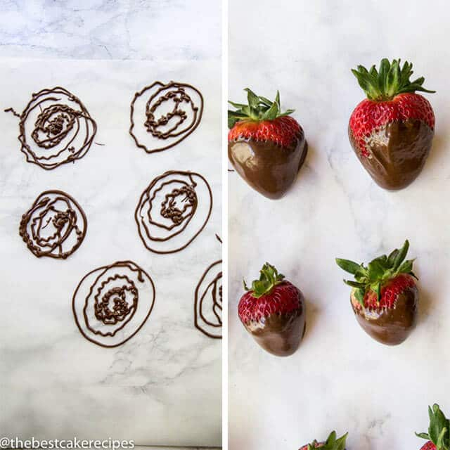 strawberry and chocolate decorations for chocolate cake