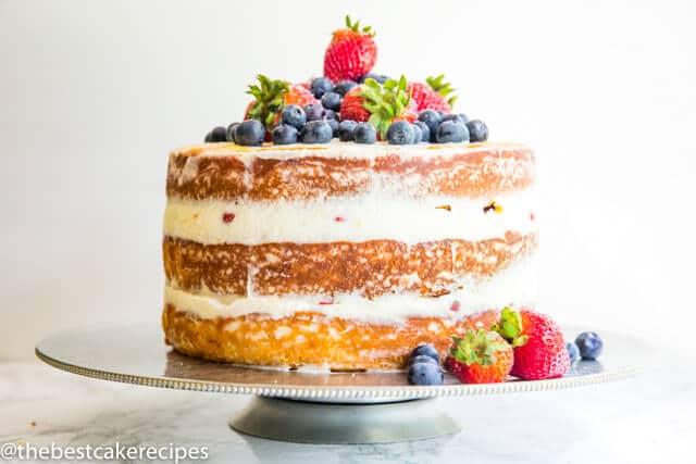 three layer cake with mascarpone frosting