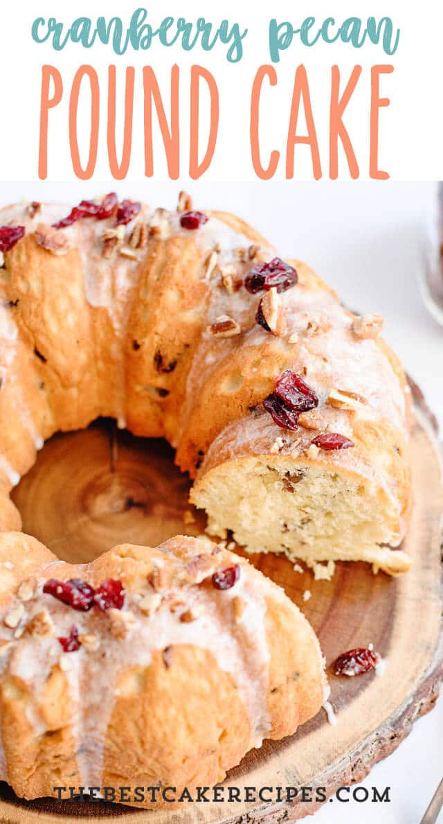 5 eggs and Greek yogurt make this pound cake rich and moist. Cranberry Pecan Pound Cake is an easy coffee cake for breakfast or brunch.