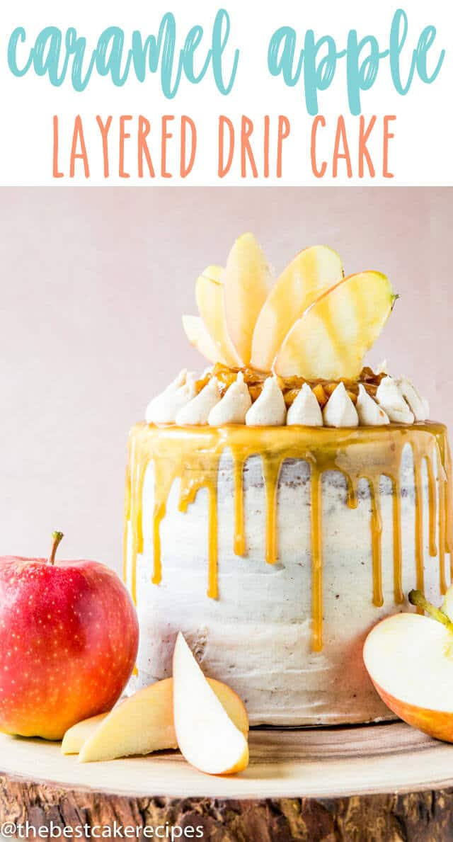 A three layer from scratch spice cake with chopped apple and caramel filling. Lightly frost with brown butter cream cheese frosting and decorate with apple slices and caramel drips.