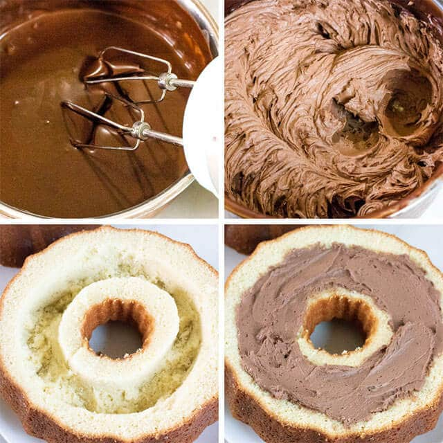 4 image collage of how to make chocolate ganache filled cake