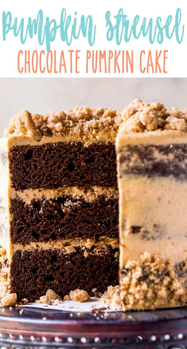 A doctored up box cake mix starts off this chocolate pumpkin cake... but the pumpkin cream cheese frosting and pumpkin spice cake mix make it over the top! This easy layer cake is perfect for Thanksgiving dessert.