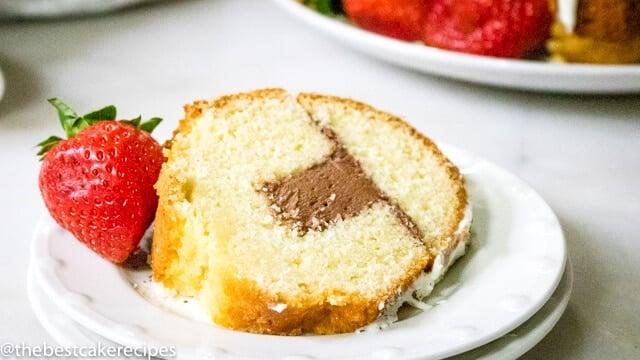 filled bundt cake on a plate