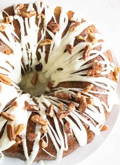 overhead view of hummingbird cake with glaze