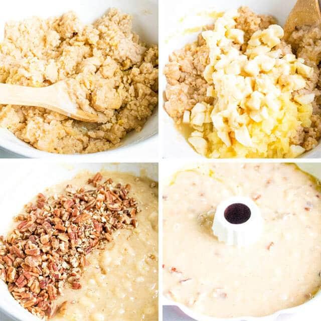 4 image collage on how to make banana cake