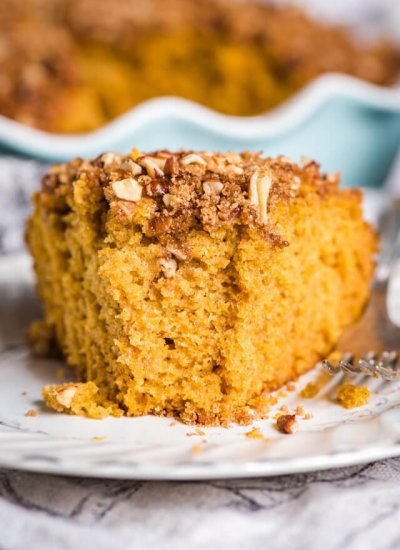 Sourdough Pumpkin Coffee Cake on a plate