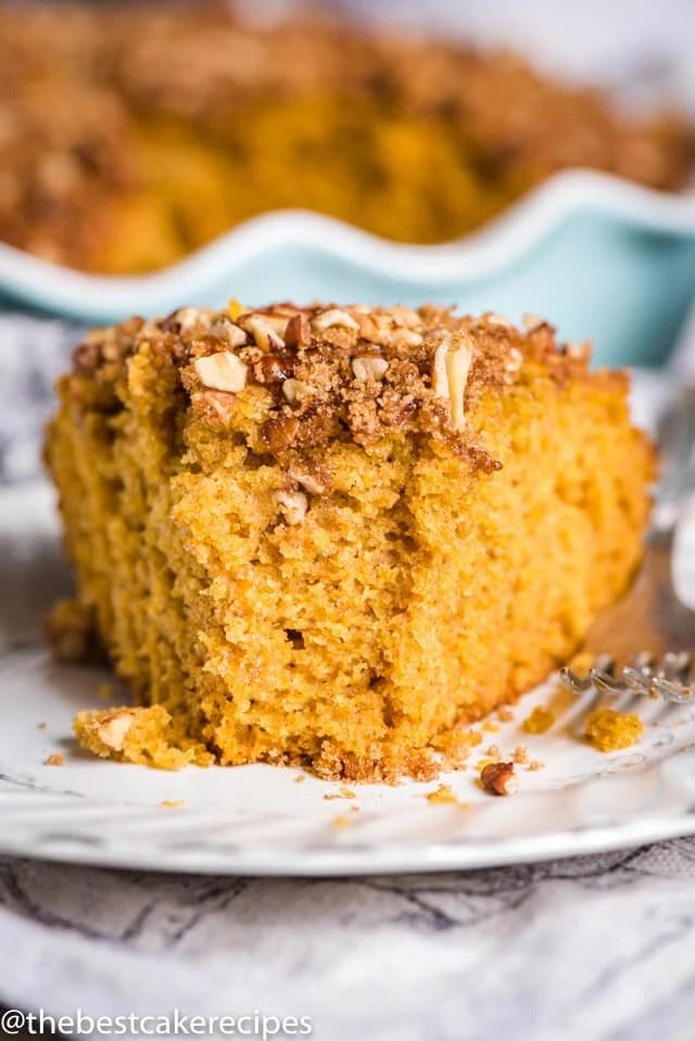 Sourdough Pumpkin Coffee Cake on a plate