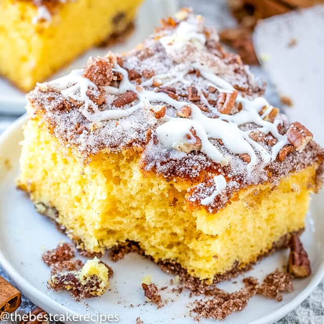 slice of coffee cake with a bite out