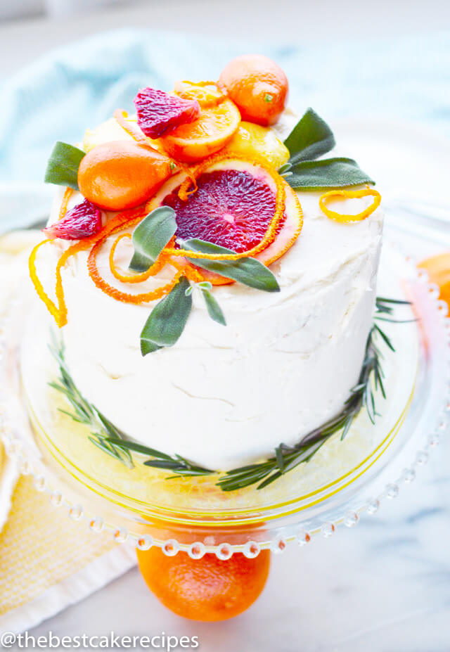 cake with fresh fruit and greens