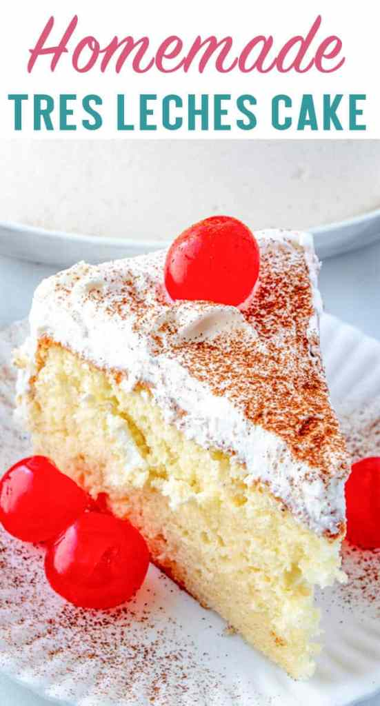 A piece of cake on a plate, with Milk and Tres leches cake
