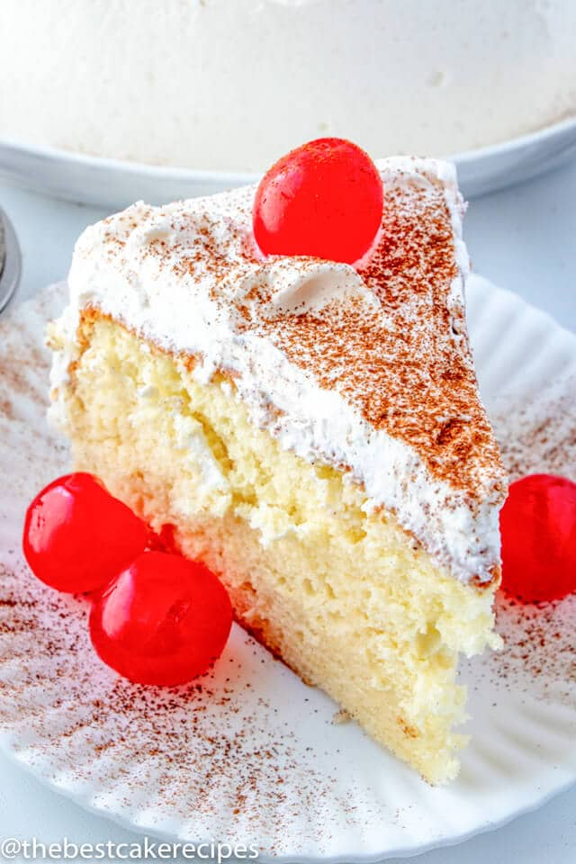 slice of Tres Leches Cake on a cake
