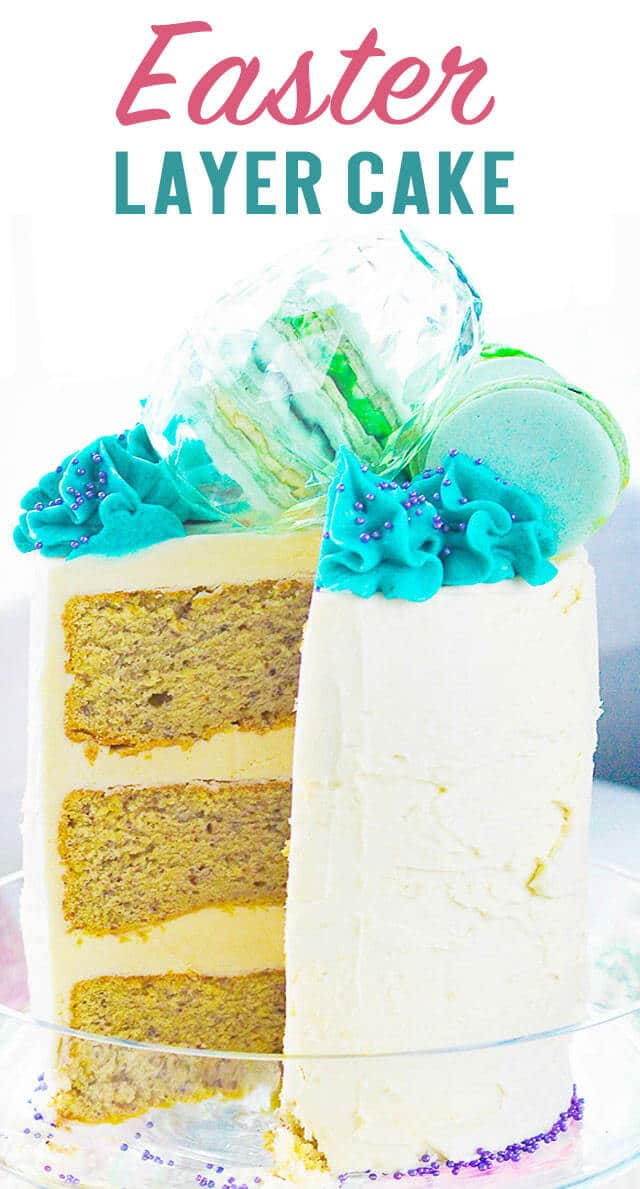 An egg free 3 layer homemade cake with buttercream frosting. Decorate this pretty Easter Layer cake with colorful macarons and Easter eggs for a spring dessert! #cake #layercake #vegancake #homemadecake  via @thebestcakerecipes