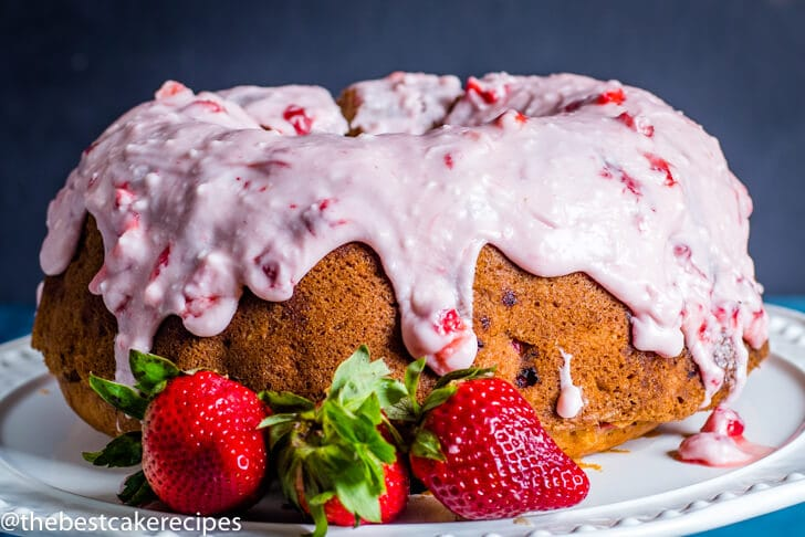 Fresh Strawberry Bundt Cake horizontal image