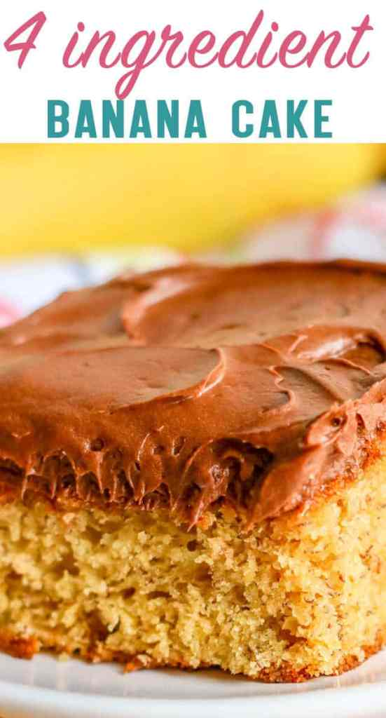 If you're craving banana cake but don't have much time, try this easy 4 ingredient banana cake. A semi homemade cake with chocolate frosting.