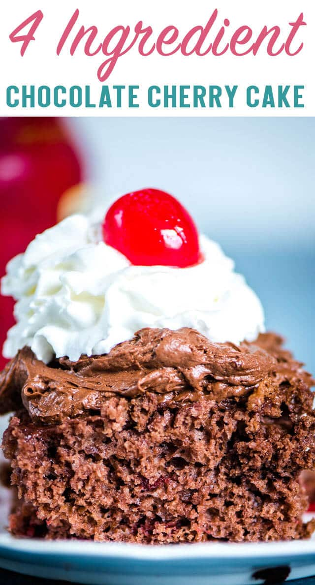 The easiest cake you'll ever make! This frosted 4 Ingredient Chocolate Cherry Cake starts with a chocolate cake mix and is loaded with cherry filling. #cakemix #chocolatecake #cherrycake #boxmix #cherry via @thebestcakerecipes