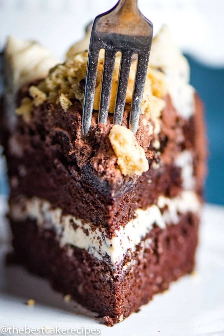 Chocolate Chip Cookie Dough Cake on a plate with fork