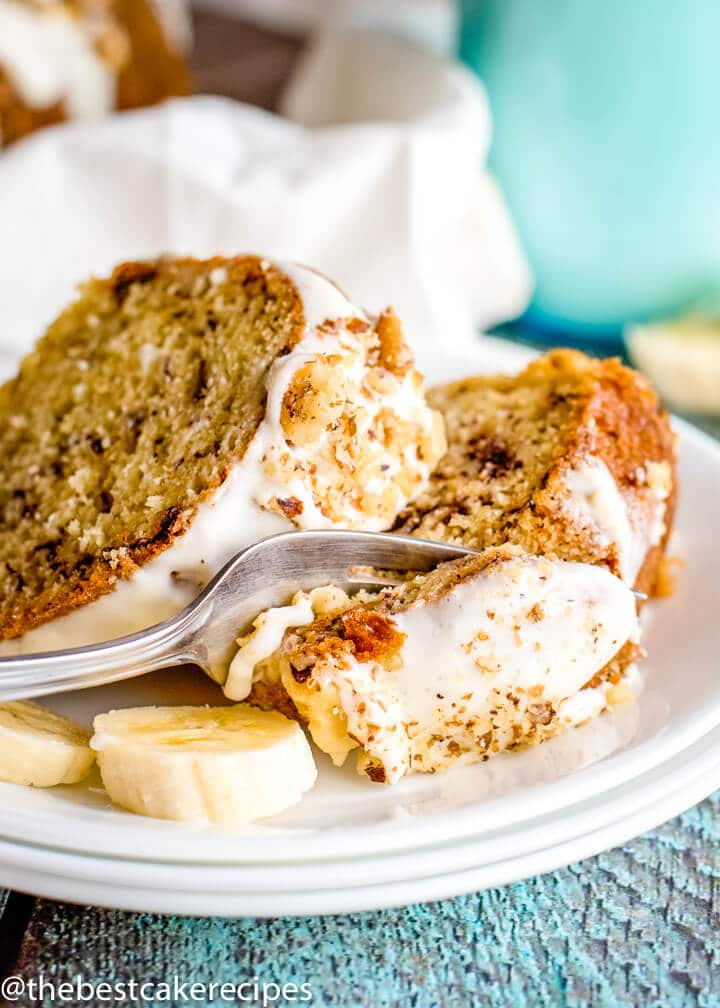 Making a banana cake was never quicker! Add mashed bananas to a cake mix in this Easy Banana Bundt Cake recipe. Top with a cream cheese glaze.