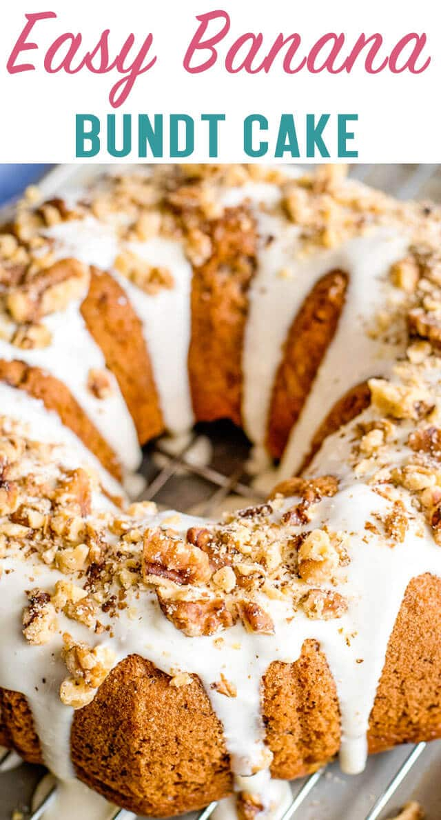 Making a banana cake was never quicker! Add mashed bananas to a cake mix in this Easy Banana Bundt Cake recipe. Top with a cream cheese glaze. via @thebestcakerecipes