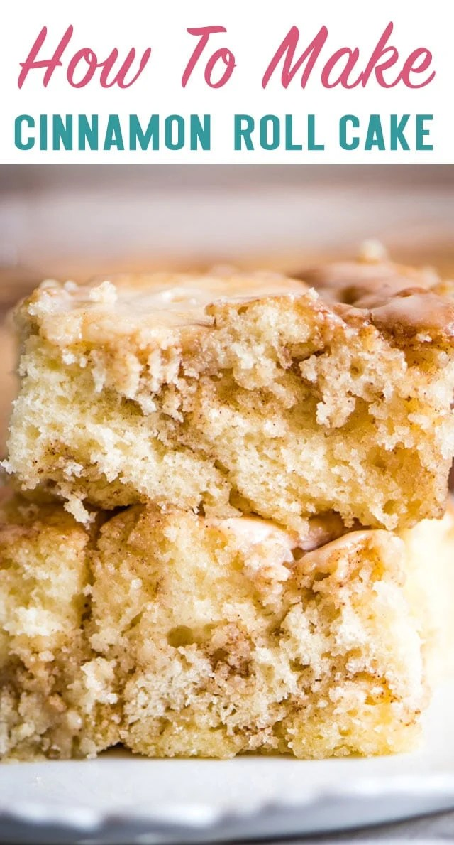 Now breakfast can happen anytime of the day thanks to this delicious Cinnamon Roll Cake. Enjoy the ooey gooey taste of cinnamon rolls in a cake! #cake #cinnamonroll #dessert #breakfast #brunch #cinnamon via @thebestcakerecipes