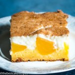 slice of homemade Peaches and Cream Cake on a plate