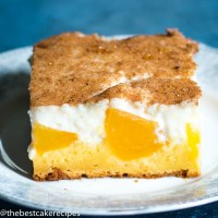 slice of homemade Peaches and Cream Cake
