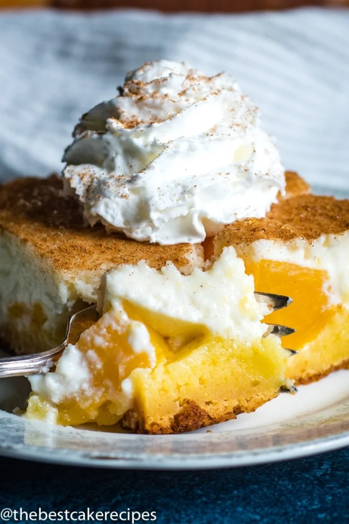 Peaches and Cream Cake with a fork