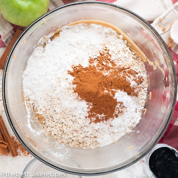 flour and cinnamon in a mixing bowl