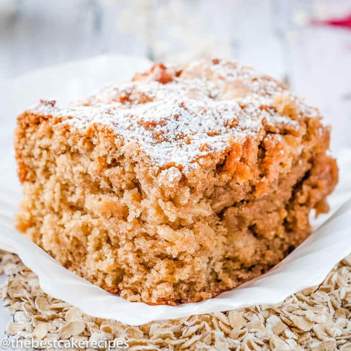 Apple Oatmeal Snack Cake with powdered sugar on top