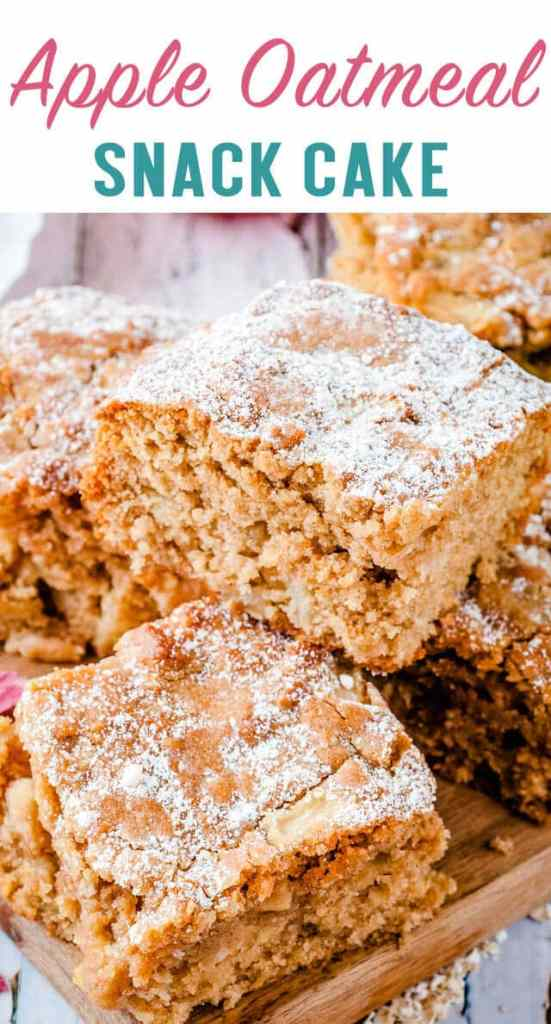 This apple oatmeal snack cake makes a great breakfast or afternoon snack. It's an easy cake recipe packed full of oatmeal, apples and nuts.