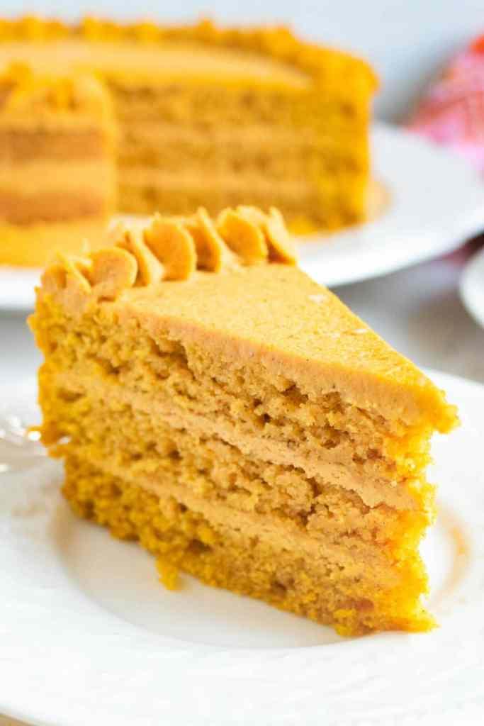 Pumpkin Cake with Pumpkin Ganache on a plate