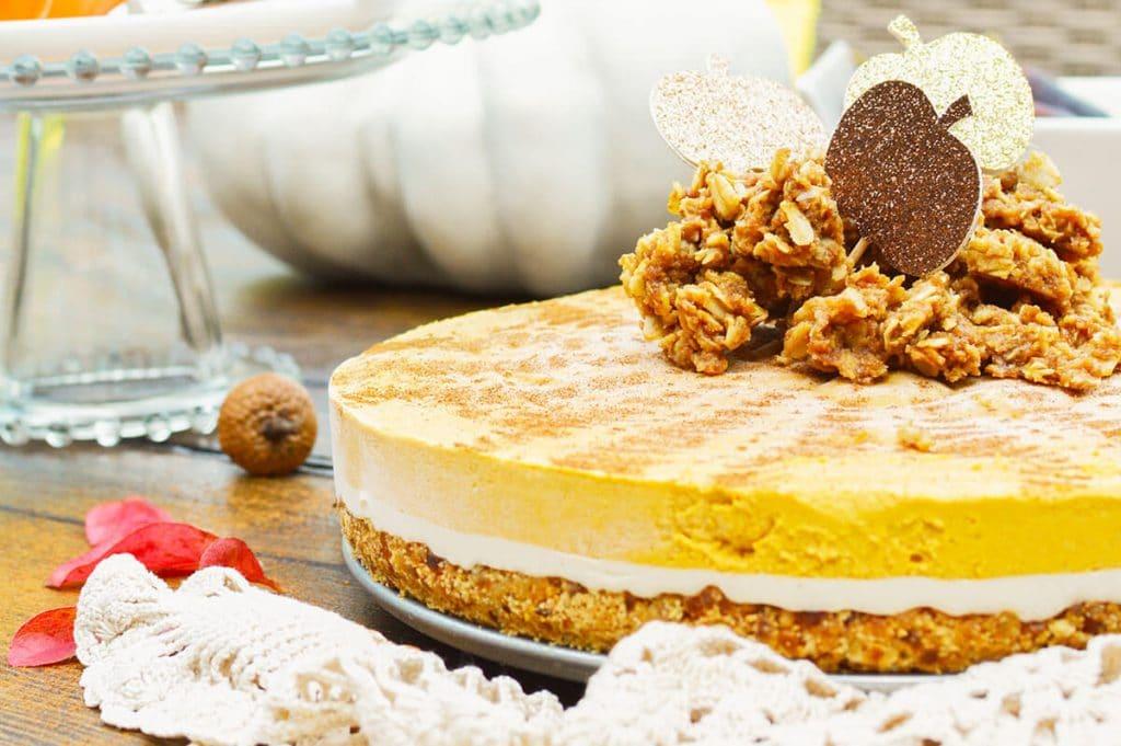 no bake Vegan Pumpkin Pie on a table