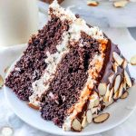 slice of chocolate cake with coconut buttercream