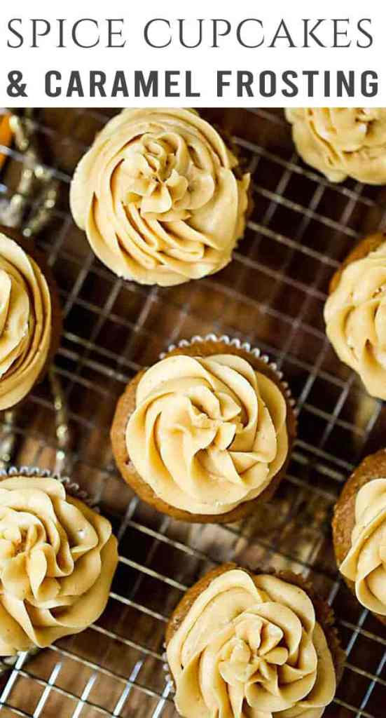 title image for spice cupcakes with caramel frosting