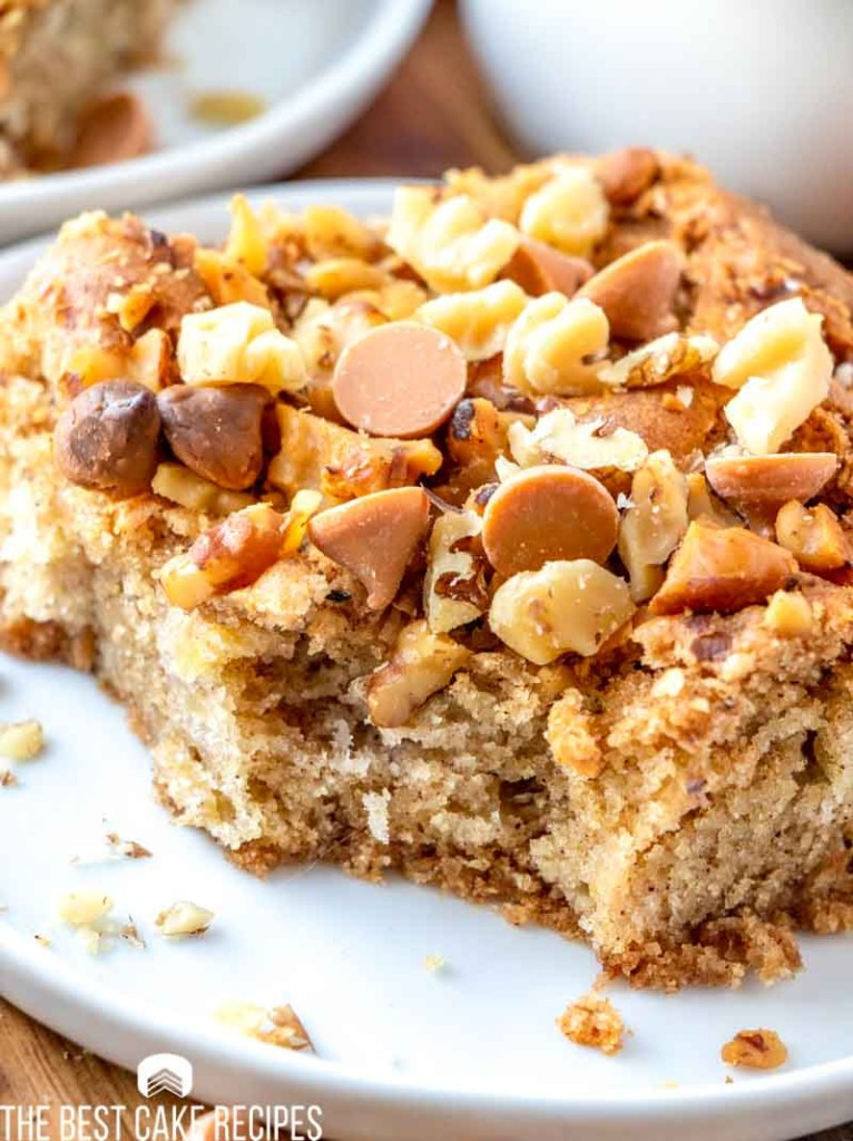 cake with butterscotch chips and walnuts on a plate