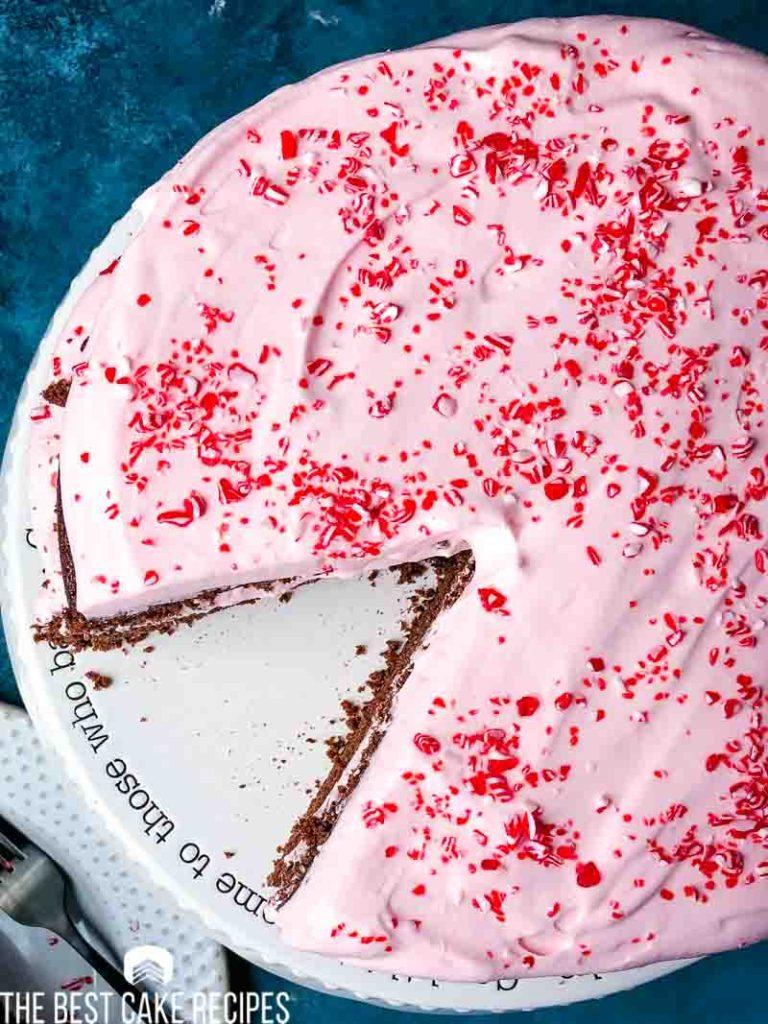 overhead shot of peppermint cake