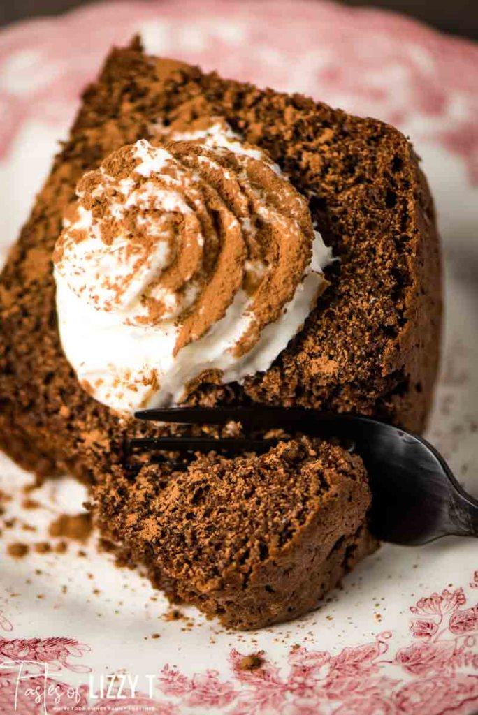 Whole Wheat Chocolate Chiffon Cake with fork