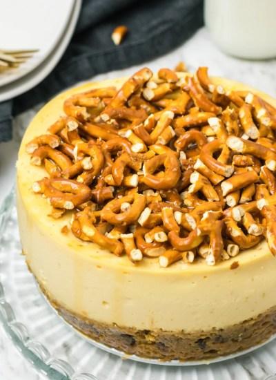 Caramel Pretzel Cheesecake with cookie crust