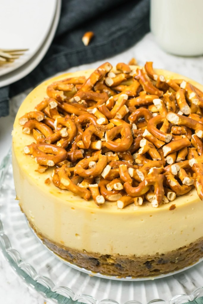 Caramel Pretzel Cheesecake with cookie crust