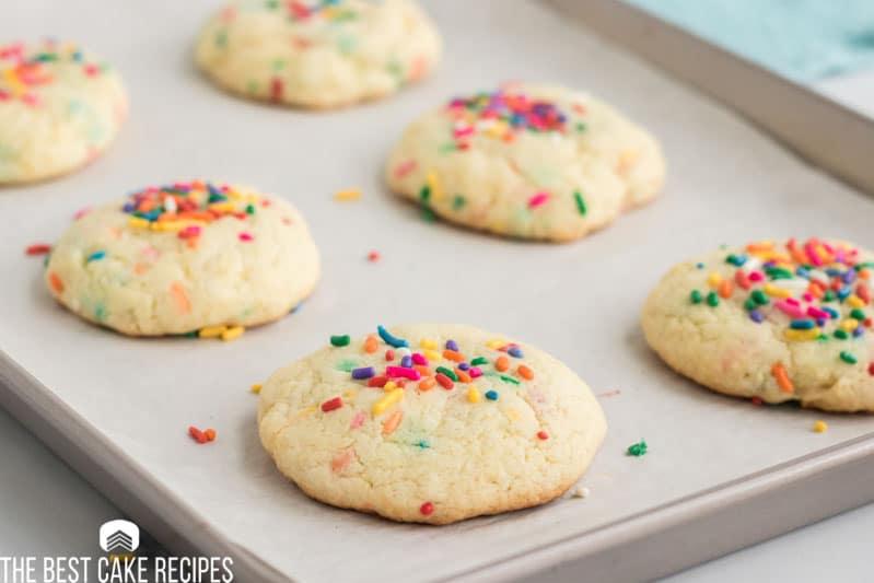 funfetti cookies on a baking pan