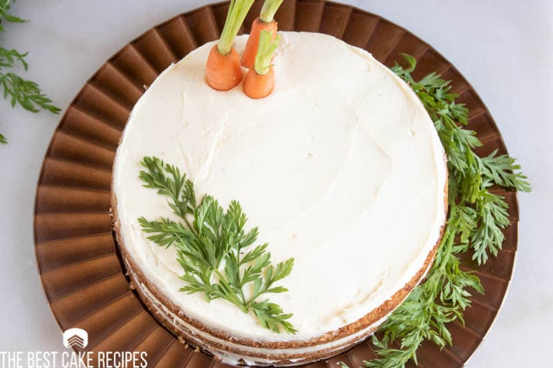 overhead view of Carrot Cake Torte with carrots on top