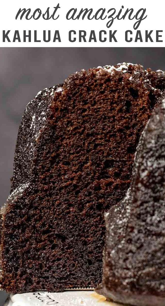 You've never had a bundt cake like this! Introducing Chocolate Kahlua Crack Cake. The ultimate moist chocolate cake infused with a sweet Kahlua glaze. #cake #bundtcake #kahlua via @thebestcakerecipes