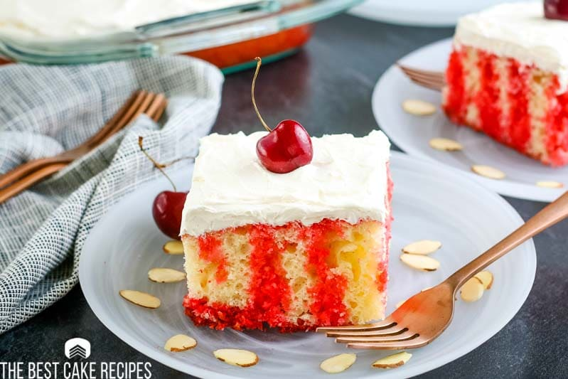 cherry Jello Poke Cake on a plate