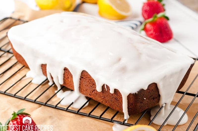 lemon glazed loaf cake on a wire rack